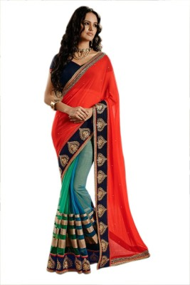 Contemporarycrafts Embriodered Fashion Georgette Sari