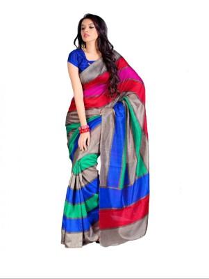 Ethnic Andaaz Striped, Self Design Fashion Art Silk, Cotton Sari