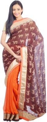 Shree Saree Kunj Printed, Self Design Bollywood Handloom Georgette, Jacquard Sari