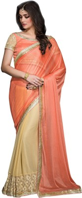 Aarnas Fashion Solid Fashion Chiffon Sari