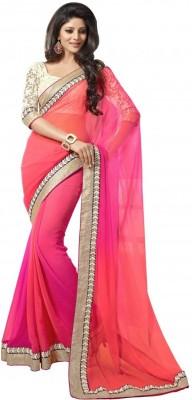 Rozdeal Solid Fashion Georgette Sari