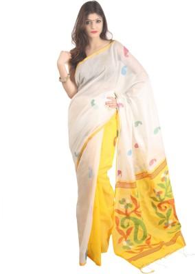 The Weave Traveller Self Design Jamdani Silk, Cotton Sari