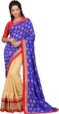 Vonage Floral Print, Solid Bollywood Jacquard Sari