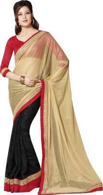 Queenbee Embriodered, Embellished, Self Design Fashion Georgette Sari