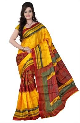Raj Creative Graphic Print Ikkat Handloom Art Silk Sari