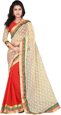 Nairiti Fashions Self Design Fashion Net, Chiffon Sari