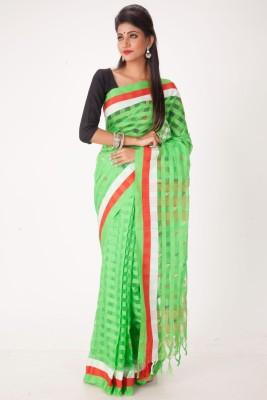 Jhumya Woven, Checkered Tant Handloom Cotton Sari