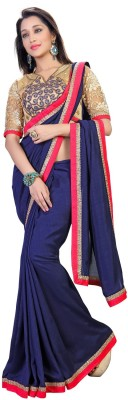 RIDDHIsiddhi Plain, Embriodered Fashion Georgette Sari