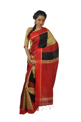 Rudrakshhh Striped Jamdani Handloom Silk Cotton Blend Sari