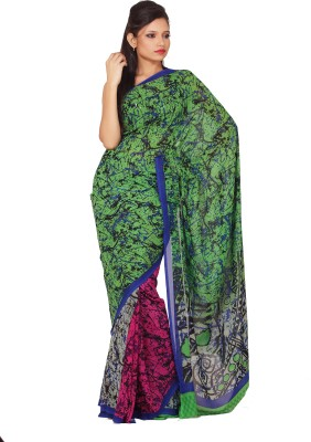Sanghmitra Creations Animal Print Fashion Crepe Sari
