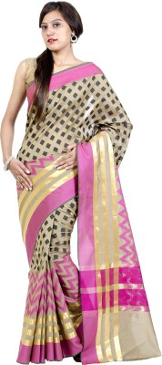 Chandrakala Checkered Banarasi Cotton, Silk Saree(Beige) at flipkart