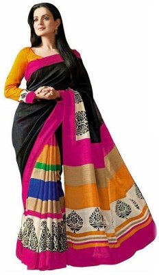 Lovit Printed Bhagalpuri Silk Cotton Blend Sari