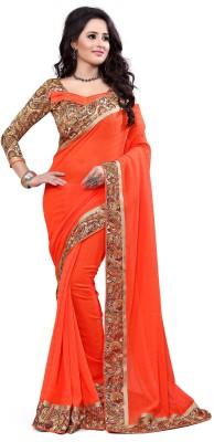 Indianbeauty Self Design, Solid, Printed Fashion Georgette Saree(Orange) at flipkart