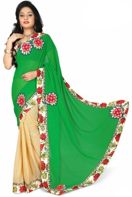 Prabha Creation Solid, Embellished, Self Design Fashion Chiffon Sari