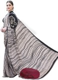Craftghar Checkered Fashion Crepe Sari (...