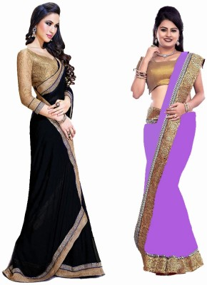 Bhuwal Fashion Self Design Fashion Chiffon Saree(Pack of 2, Black, Purple)