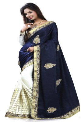 STYLO SAREES Embriodered Fashion Velvet Sari