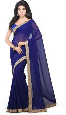 Bay & Blue Solid Bhagalpuri Georgette Sari