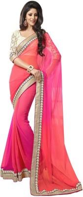 Youthmart Solid Banarasi Handloom Georgette Sari