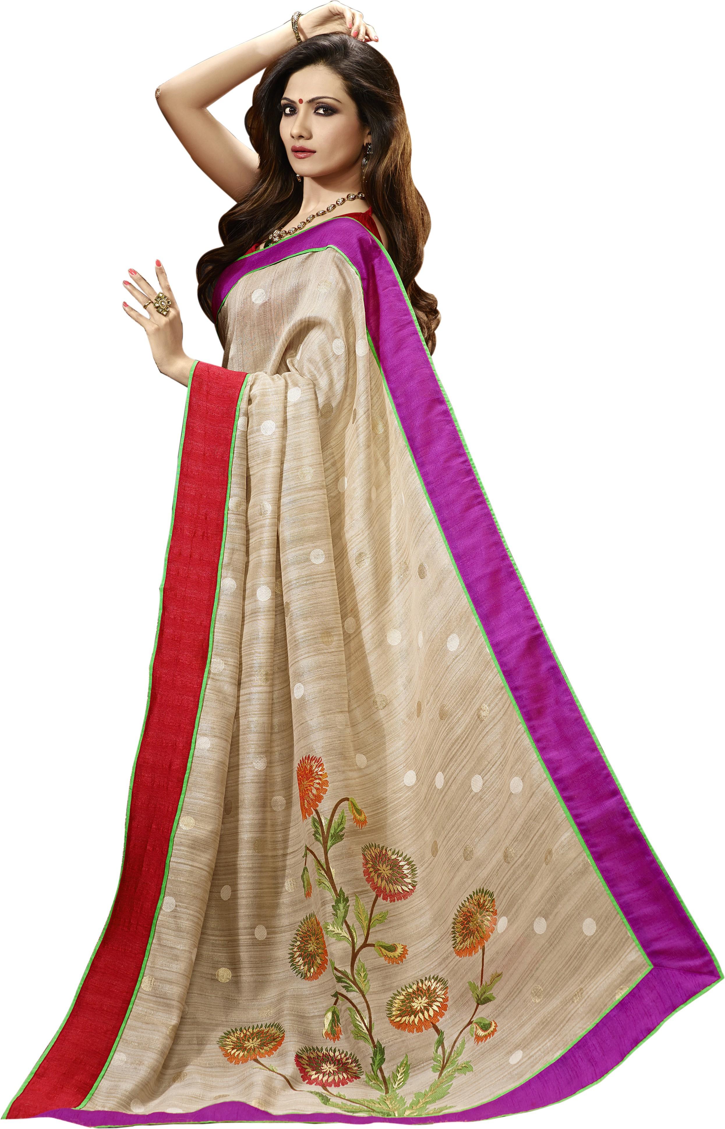 Bhavi Printed Jamdani Art Silk Saree(Multicolor)