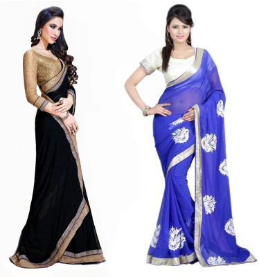 Bhuwal Fashion Self Design Fashion Chiffon Saree(Pack of 2, Black, Blue)