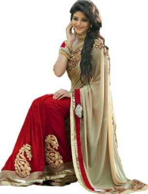 Aenu Trends Applique Bollywood Georgette Sari