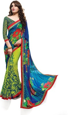 Indianbeauty Self Design, Printed Bollywood Georgette Sari(Multicolor)