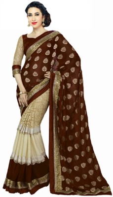 Matindra Enterprise Embriodered Bollywood Jacquard, Net, Brasso Sari
