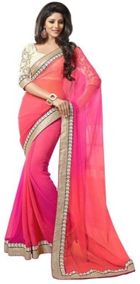 nm textile Embriodered Bollywood Synthetic Georgette Sari