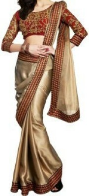 Giyya Fashion Embriodered, Solid Bollywood Handloom Satin Sari
