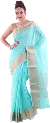Aumkar Solid Fashion Cotton, Silk Sari