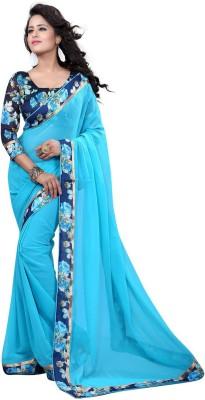 Jhilmil Fashion Self Design Bollywood Georgette Saree(Blue) at flipkart