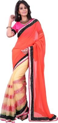 Urjita Creations Solid Fashion Georgette Sari
