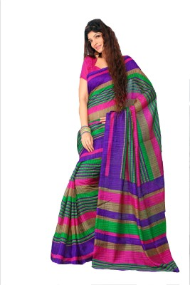 Gd Retails Striped, Printed Bollywood Art Silk, Cotton Sari