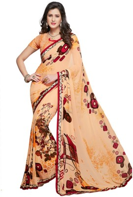 Salwar Studio Floral Print, Geometric Print, Printed Daily Wear Synthetic Georgette Sari