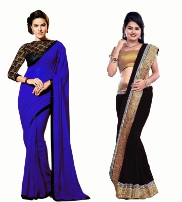 Bhuwal Fashion Self Design Fashion Chiffon Sari(Pack of 2, Blue, Black)