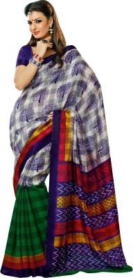 Prafful Checkered Daily Wear Art Silk Sari