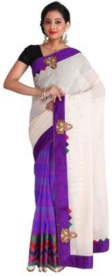 Nav Durga Applique, Woven Fashion Art Silk Sari
