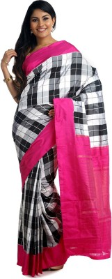 BlackBeauty Woven Pochampally Handloom Pure Silk Saree(Black, White, Pink) at flipkart
