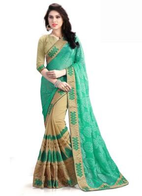 Pragati Fashion Hab Embroidered Fashion Brasso Saree(Green, Beige)