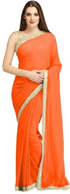 Cozee Shopping Plain Fashion Georgette, Lace Sari