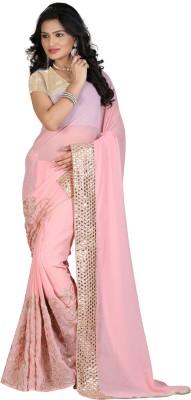 STARLIGHT CLUB Embroidered Fashion Georgette Sari(Pink)