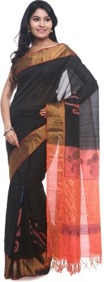 BlackBeauty Self Design Ilkal Handloom Silk Cotton Blend Saree(Black) at flipkart