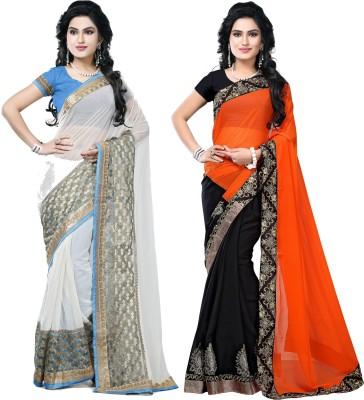 SNV Fashion Embriodered, Embellished Fashion Chiffon, Chiffon Sari