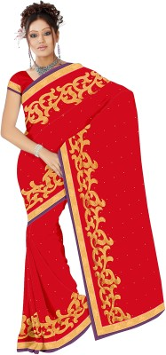 Aruna Sarees Embroidered Fashion Chiffon Saree(Red) at flipkart