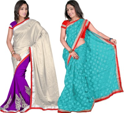 MAA CREATION Solid Fashion Brasso Sari
