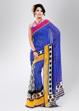 Florence Printed Georgette Saree (Yellow...