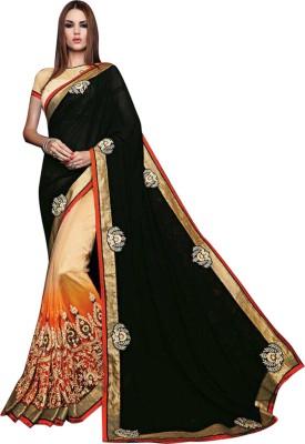 Orange Fab Embriodered Fashion Georgette Sari