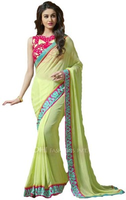 Vihana Solid, Self Design, Embriodered Fashion Georgette Sari
