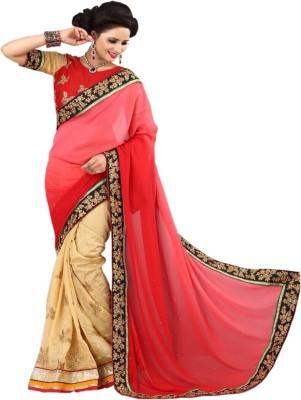 Shivam Textiles Embellished, Geometric Print Fashion Chiffon, Lace Sari